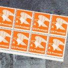 "Eagle ""A"" Rate Orange 15c Postage Stamps, Block of 8, Scott No. 1735"