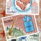 DUBAI Telecommunications Air Mail Postage Stamps Vintage United Arab Emirates