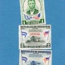 Republica de Honduras Three Air Mail Postage Stamps, Abraham Lincoln Homestead