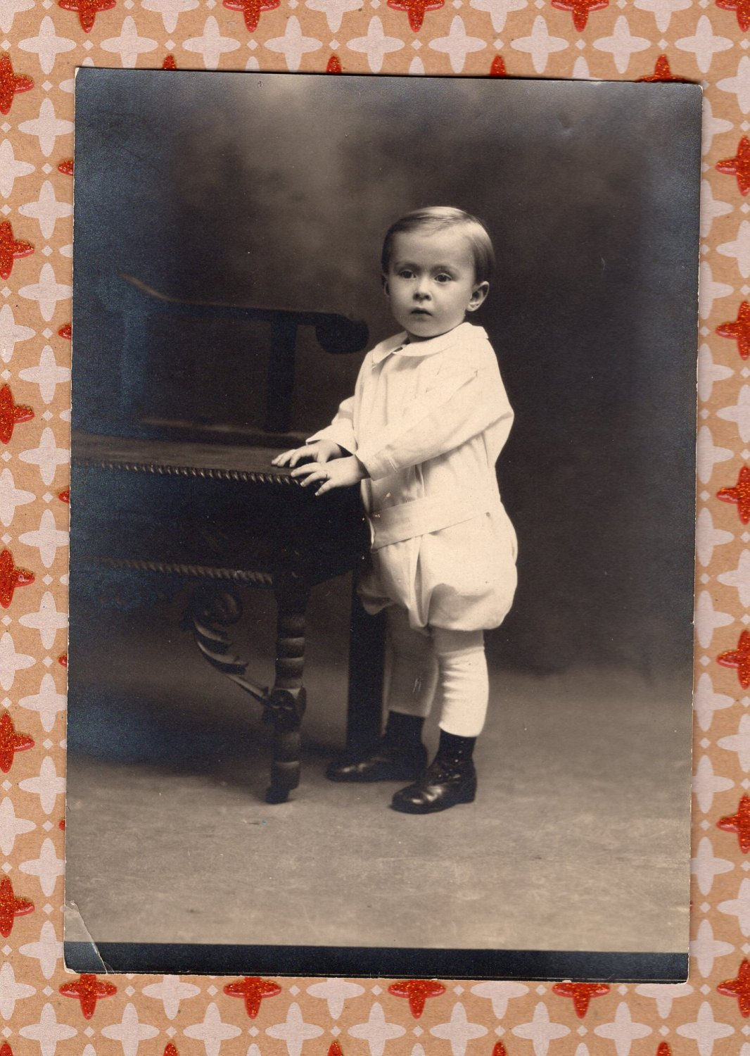 Baby Boy / Toddler With Table Antique / Vintage Black & White Portrait Picture