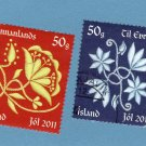 Iceland Christmas Holiday 2011 Postage Stamps, Used, Floral, Goldwork Embroidery