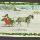 Merry Christmas Holiday Hallmark Postcard Horse and Sleigh
