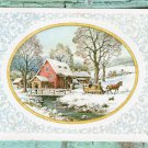 Very Pretty Snowy Christmas Holiday Postcard, Decorative Horse & Sleigh