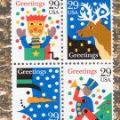 29c Contemporary Christmas Greetings Unused Block of Four Postage Stamps