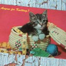 Anyone For Knitting? Vintage Postcard, Adorable Kitten / Cat In Basket