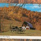 Autumn In West Virginia With Old Barn & Wagon Scene Full Color Chrome Postcard