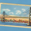 San Francisco Oakland Bay Bridge & Skyline, Vintage Postcard California