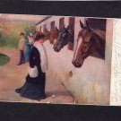 Victorian Woman & Horses In Box Stalls, Antique Postcard, Stable Scene