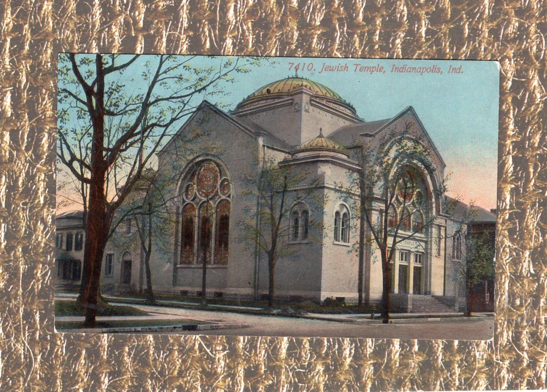 Jewish Temple, Indianapolis, Indiana Postcard, Judaica, Synagogue, Historic Building