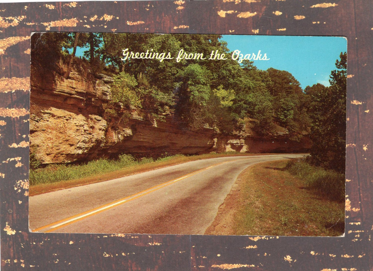Greetings From The Ozarks Vintage Postcard, Road Scene, Beautiful Drive, View