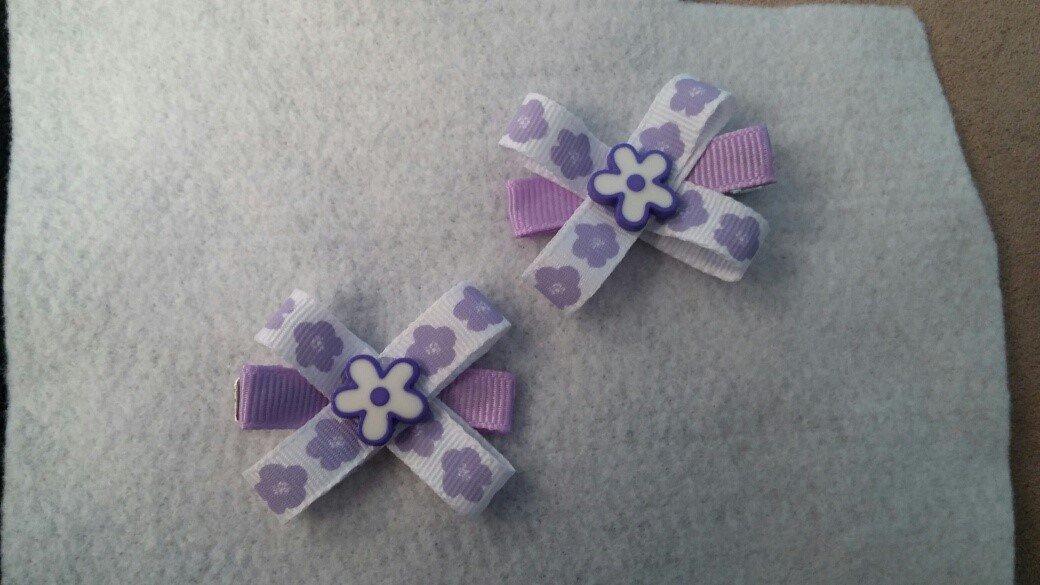 Purple Flower Hair Bows