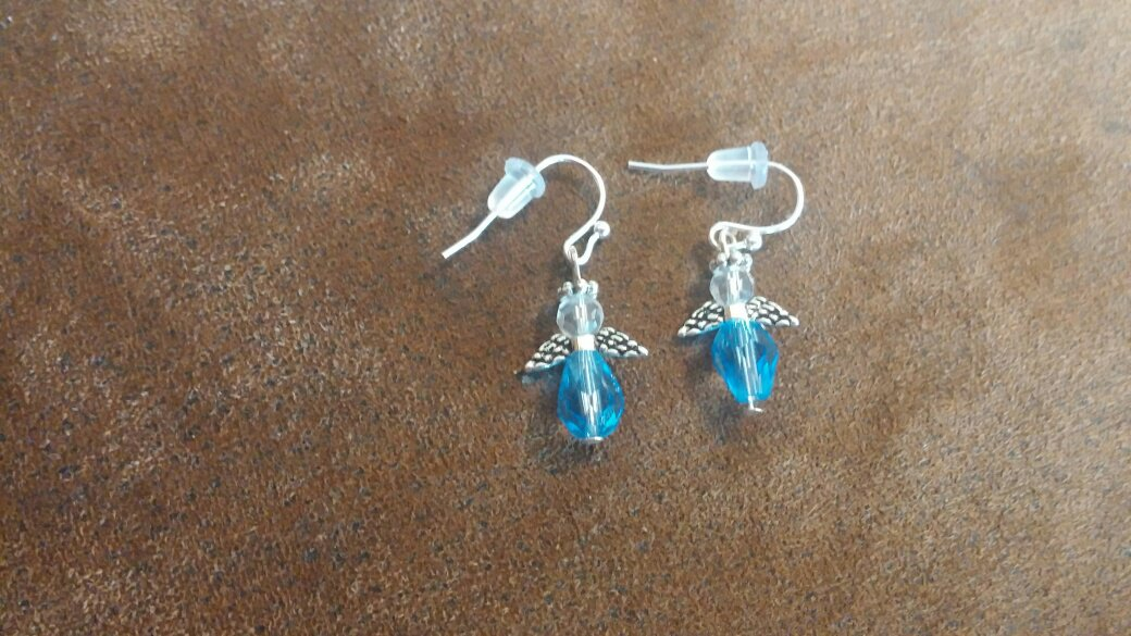 Angel Earrings - Blue Crystal