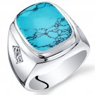 Mens Cushion Cut Simulated Turquoise Sterling Silver Knight Ring