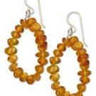 Sterling Silver Amber Nugget Loop Earrings