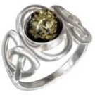 Sterling Silver Green Amber Trinity Knot Ring