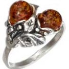 Sterling Silver Floral Honey Amber Ring