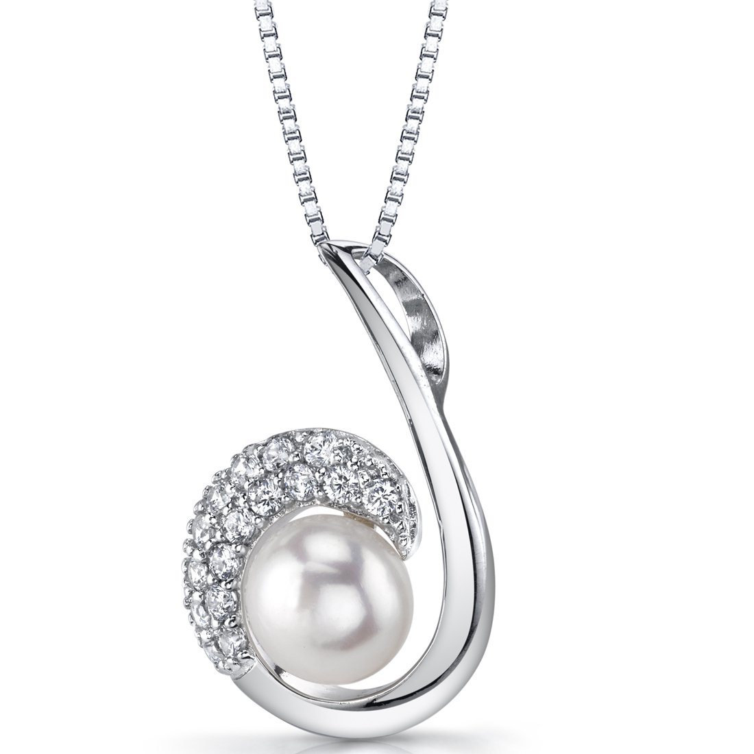 Sterling Silver 8.0mm Casual White Pearl Necklace