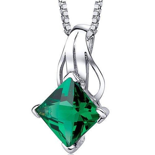 Sterling Silver 2.00 Carats Princess Cut Lab Created Emerald Pendant