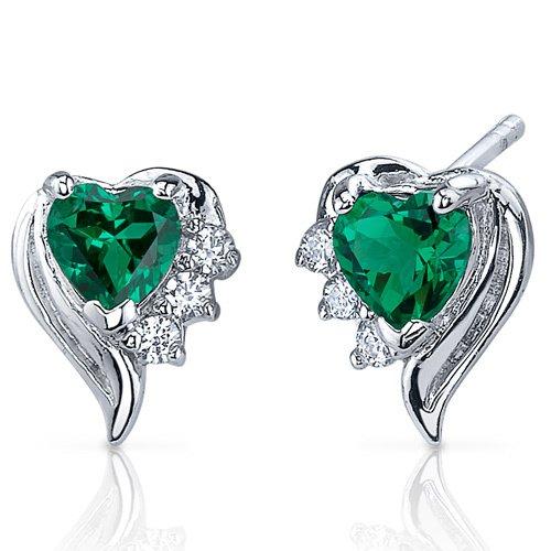 Sterling Silver 1.00 Carats Emerald Heart Shape Earrings