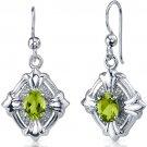 Sterling Silver Victorian Design Peridot Dangle Earrings