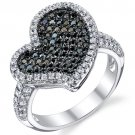 Sterling Silver Black & White CZ Heart Ring