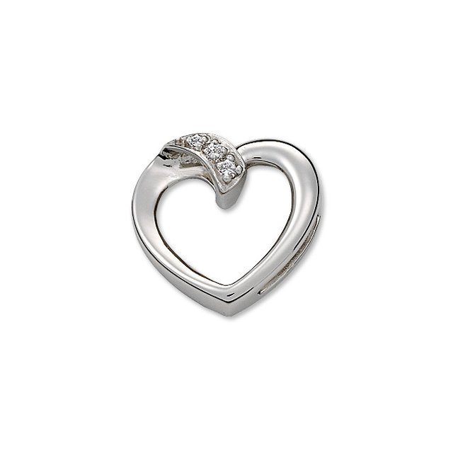 Platinum Diamond Heart Pendant Slide