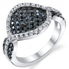 Sterling Silver 2.58 Carats Black & White CZ Ring
