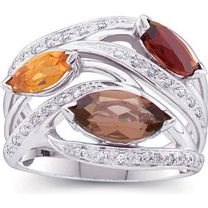 14K White Gold Citrine & Smokey Quartz Ring - 1/6 CTW