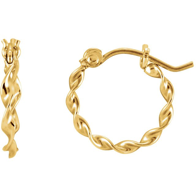 14K Yellow Gold Twisted Tube Hoop Earrings - Small SIze