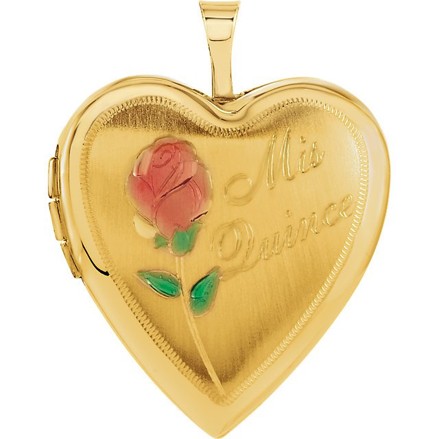 14K Yellow Gold Mis Quince Heart Locket