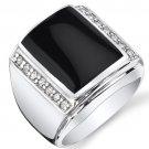 Men's Sterling Silver Black Onyx & CZ Aston Ring
