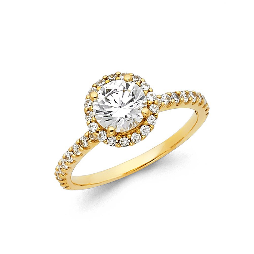 14K Yellow Gold Round Halo Cubic Zirconia Engagement Ring