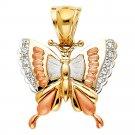 14K Tri Color Gold CZ Butterfly Pendant