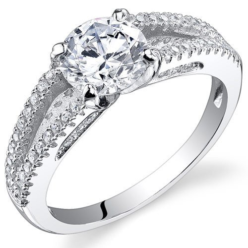 Sterling Silver 1.52 Carats Round Shape Cubic Zirconia Ring