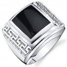 Men's Sterling Silver Onyx Greek Key Ring