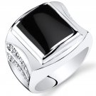 Men's Sterling Silver Rectangle Onyx Centurion Ring