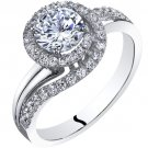 14K White Gold 1.20 Carats Simulated Diamond Engagement Ring