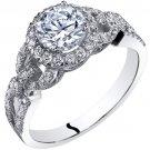 14K White Gold 1.50 Carats Simulated Diamond Engagement Ring
