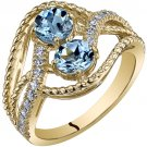 14K Yellow Gold 1.20 Carats Aquamarine Ring