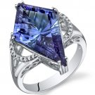 Sterling Silver 9 Carat Lab Created Alexandrite Kite Shape Ring