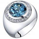 Men's Sterling Silver 5.50 Carat London Blue Topaz SIgnet Ring