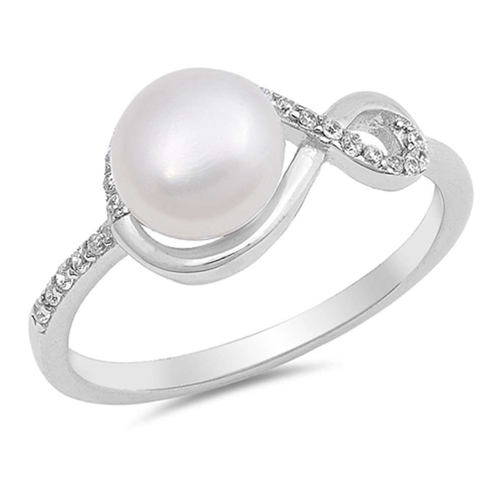 Sterling Silver Freshwater Pearl Infinity Design Ring