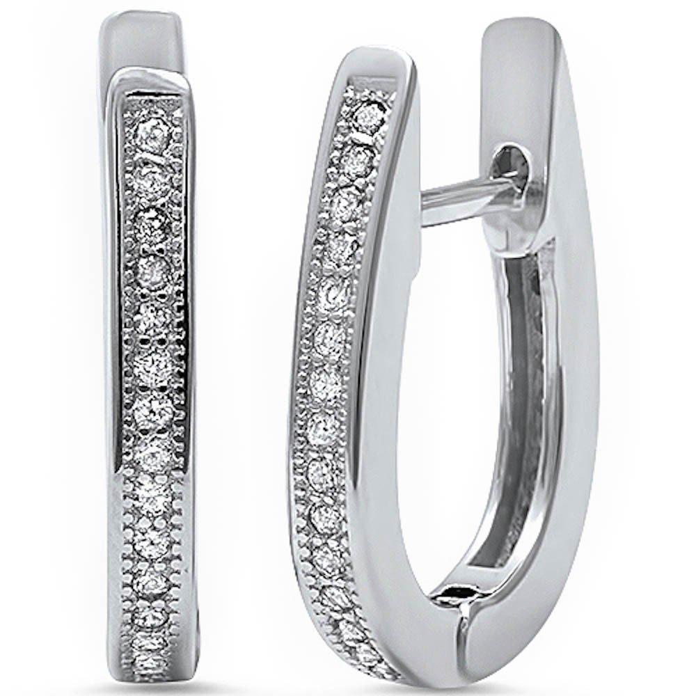 Sterling Silver Cubic Zirconia U-Shaped Hoop Earrings