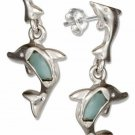Sterling Silver Larimar Dolphin Dangle Earrings