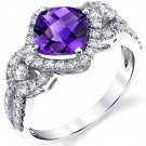 14K White Gold 1 Carat Genuine Amethyst Cushion Cut Ring