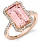 Rose Tone Sterling Silver Simulated Morganite Octagon Ring
