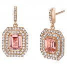Rose Tone Sterling Silver Simulated Morganite Octagon Poise Earrings