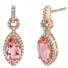 Rose Tone Sterling Silver Simulated Morganite Marquise Royal Earrings