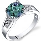 14K White Gold 2.25 Carats Created Alexandrite & Diamond Cathedral Ring