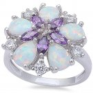 Sterling Silver Simulated Amethyst & Lab Created Opal Ring